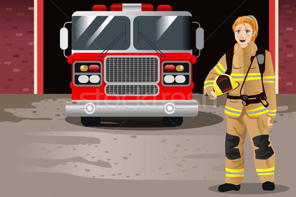 Vrouwelijke brandweerman brand station werken tekening Stockfoto © artisticco