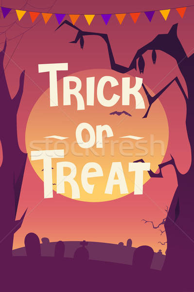 Hile halloween poster turuncu sonbahar Stok fotoğraf © artisticco