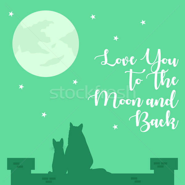 Love You To The Moon And Back Poster Illustration Stock photo © artisticco
