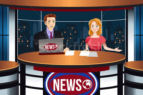 TV News Anchors Illustration Stock photo © artisticco