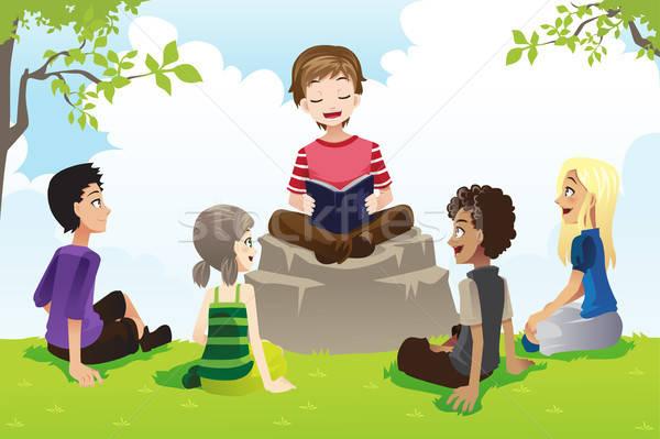 子供 勉強 聖書 グループ 教会 女の子 ストックフォト © artisticco