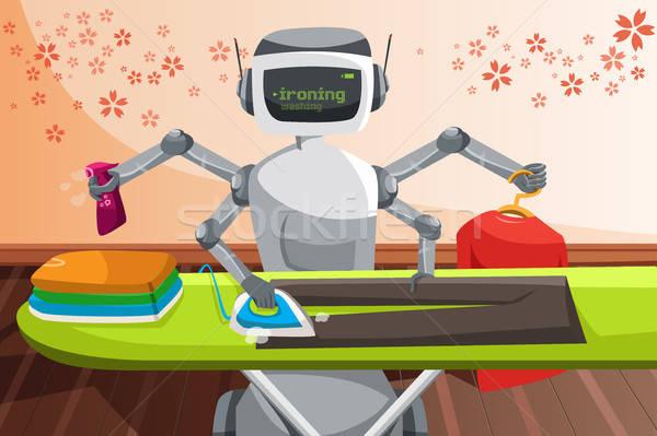 Robot ironing clothes  Stock photo © artisticco