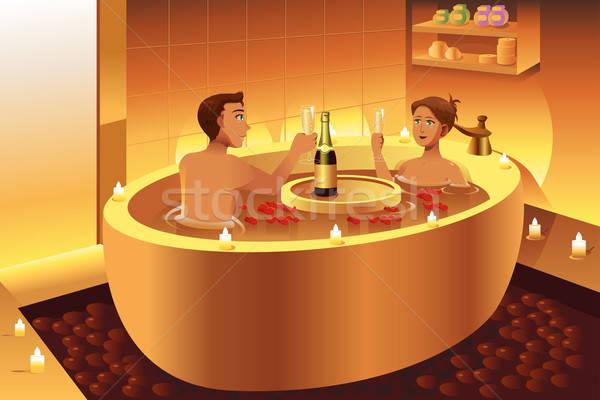 Couple enjoying a romantic bath  Stock photo © artisticco