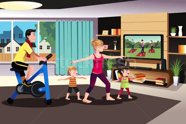 здорового семьи вместе домой Сток-фото © artisticco
