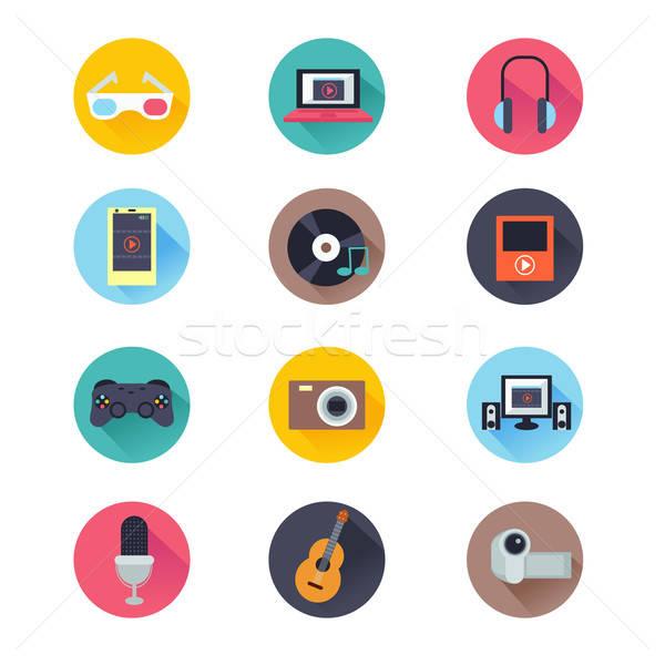 Multimedia iconen icon computer gitaar laptop Stockfoto © artisticco