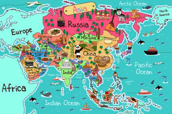 Ázsia térkép rajz stílus tenger oktatás Stock fotó © artisticco