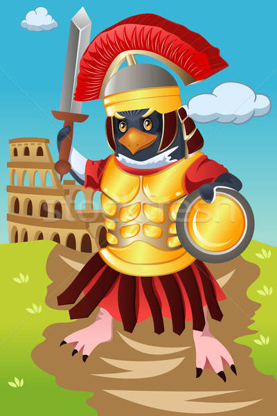 Gladiator vogel soldaat cartoon krijger vector Stockfoto © artisticco