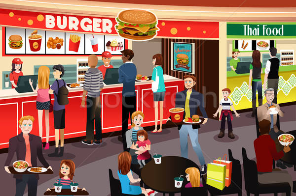 People Ordering Food in Food Court Stock photo © artisticco
