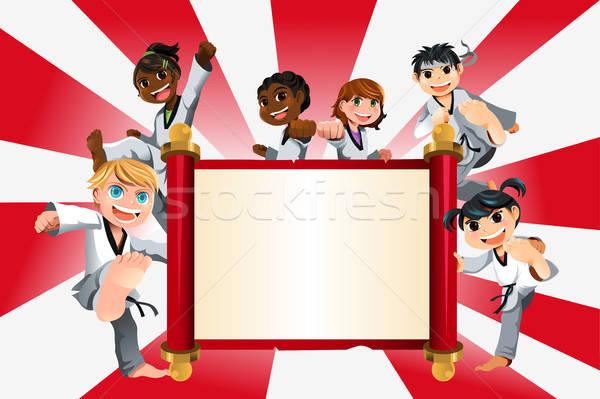 Stockfoto: Karate · kinderen · banner · oefenen · kinderen · sport