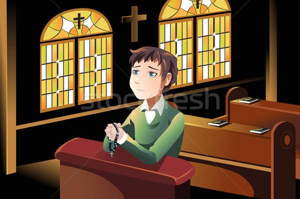 Christian prière homme église croix jesus Photo stock © artisticco