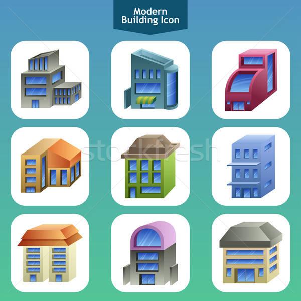 Modern bina simgeler ikon tasarımlar ofis ev Stok fotoğraf © artisticco