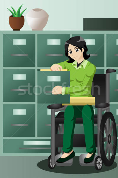 Businesswoman in wheelchair working in the office, filing files  Stock photo © artisticco