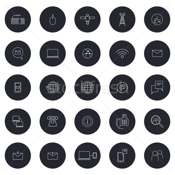 Lineal negocios comunicación iconos icono tecnología Foto stock © artisticco