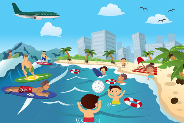 Mensen strand gelukkige mensen kinderen man Stockfoto © artisticco