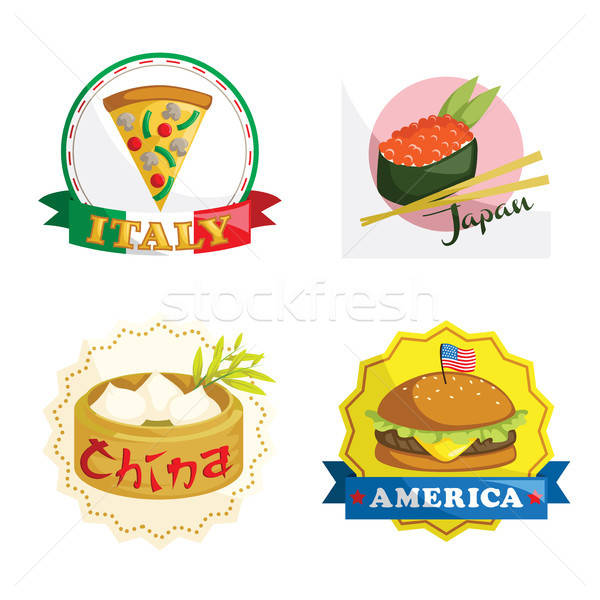 International gourmet food icons Stock photo © artisticco