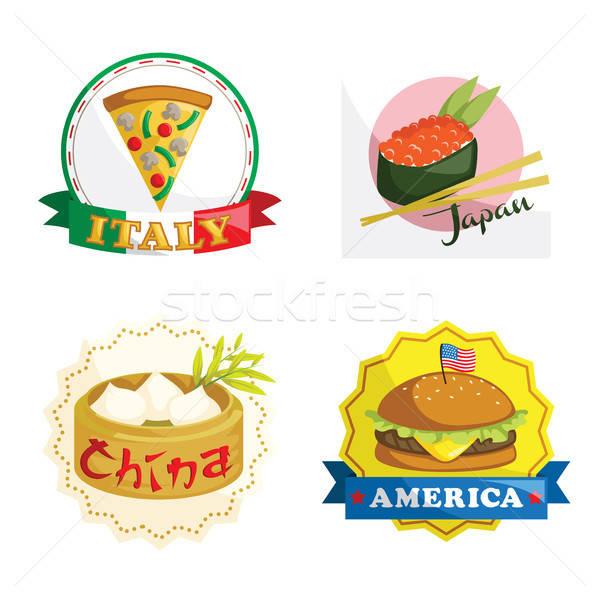 Uluslararası gurme gıda simgeler gıda Çin sushi Stok fotoğraf © artisticco