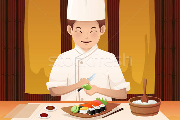 Szusi szakács dolgozik étterem férfi főzés Stock fotó © artisticco
