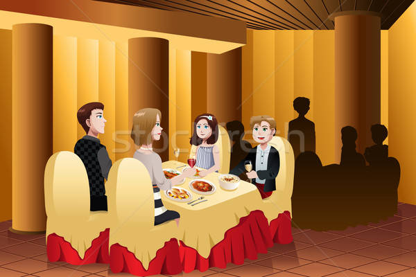 Family eating out in a restaurant Stock photo © artisticco