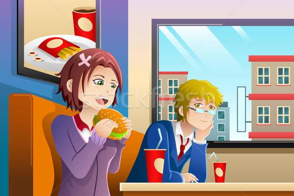 カップル 食べ ランチ 一緒に ファストフード店 少女 ストックフォト © artisticco