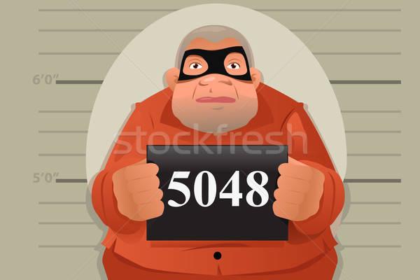 Criminelle mug coup signe justice portrait Photo stock © artisticco