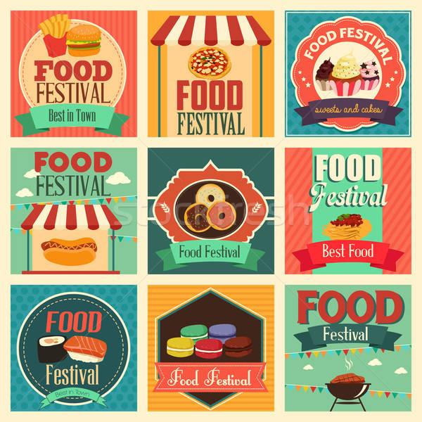 Alimentos festival iconos icono dibujo anunciante Foto stock © artisticco