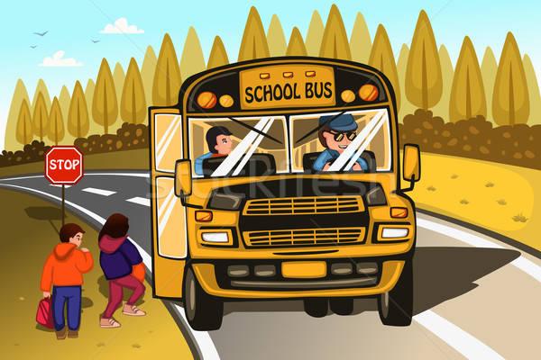 Iskolabusz sofőr gyerekek lány gyerekek iskola Stock fotó © artisticco