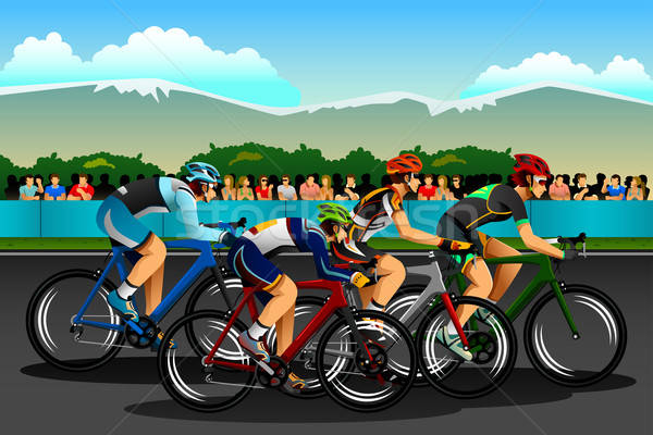 People Cycling in the Competition Stock photo © artisticco
