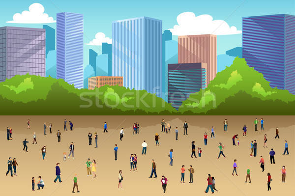 Crowd of People in a Park in the City Stock photo © artisticco