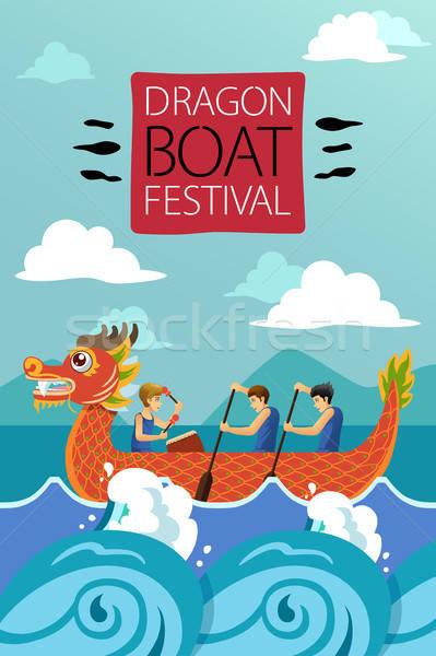 Dragão chinês barco cartaz ilustração desenho desenho animado Foto stock © artisticco