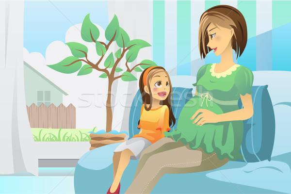 Stockfoto: Zwangere · moeder · dochter · woonkamer · familie · meisje
