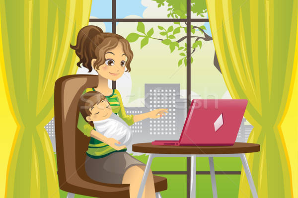 Mother and baby using laptop Stock photo © artisticco