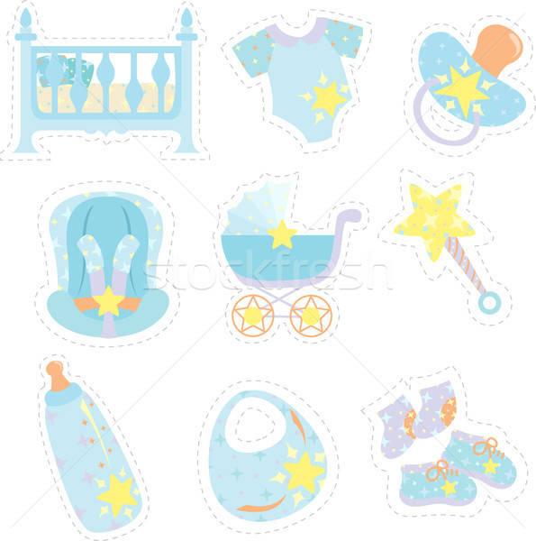 Baby jongen iconen schoenen tekening kleding Stockfoto © artisticco