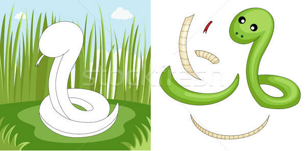 Serpent puzzle enfants jeu cartoon illustration Photo stock © artisticco
