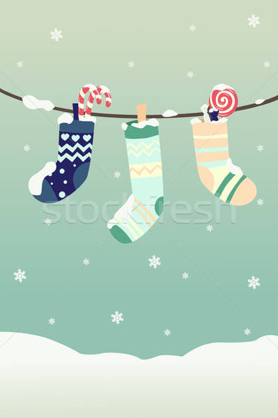 Winter Christmas stockings Stock photo © artisticco