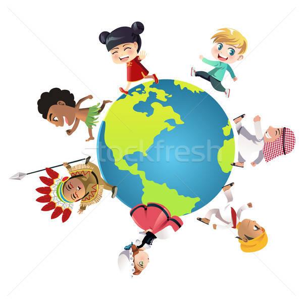 Unitate copii diferit traditional haine funcţionare Imagine de stoc © artisticco