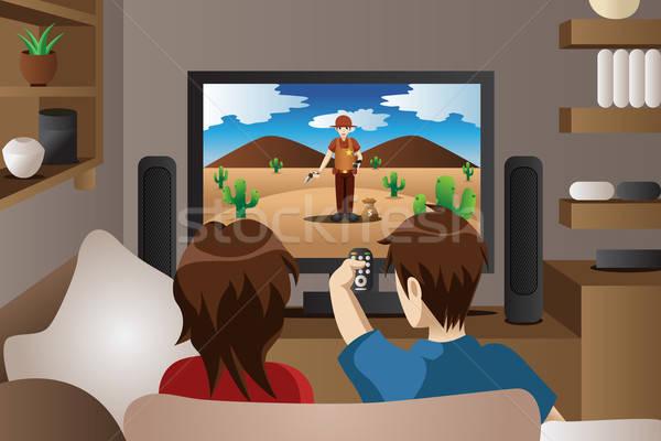 пару Смотря телевизор домой современных гостиной семьи Сток-фото © artisticco