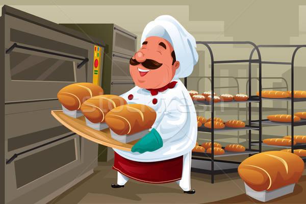 Baker cocina feliz alimentos chef Foto stock © artisticco