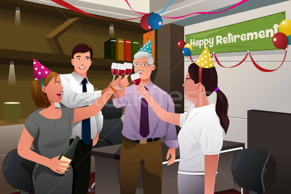 Employees in the office celebrating a happy retirement party of  Stock photo © artisticco
