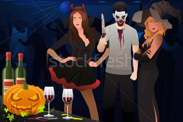 Adulte pansement up halloween costume fête Photo stock © artisticco