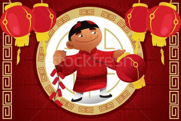 Ragazzo lanterna capodanno cinese cinese Foto d'archivio © artisticco