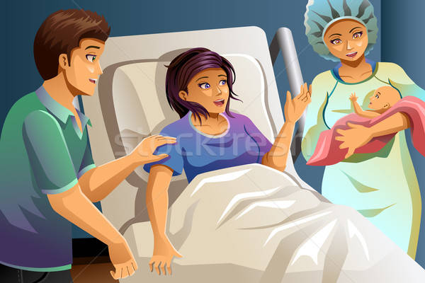 Midwife Helping Delivering a Baby Stock photo © artisticco