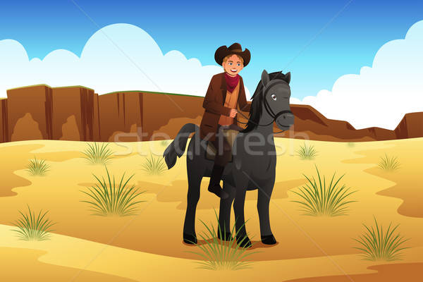 Cowboy Riding a Horse Stock photo © artisticco
