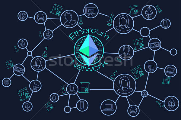 Ethereum Network Blockchain Conceptual Illustration Stock photo © artisticco