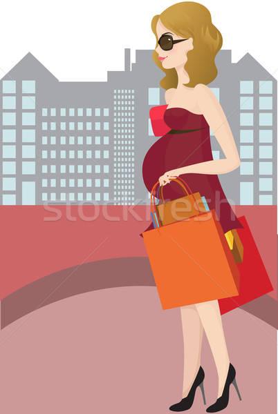 ストックフォト: ショッピング · 妊婦 · 少女 · 市 · 美 · 妊娠