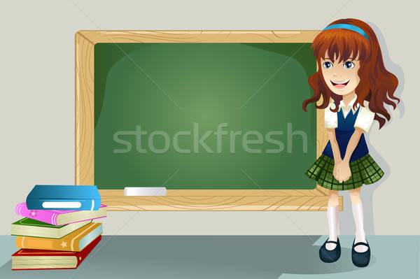 студент Постоянный доске школы счастливым ребенка Сток-фото © artisticco
