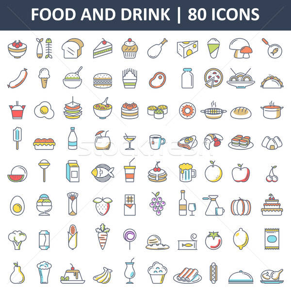 Food and Drink Flat Icons Stock photo © artisticco