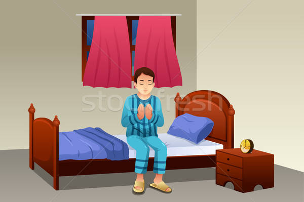 Muslim Man Praying Before Going to Bed Stock photo © artisticco