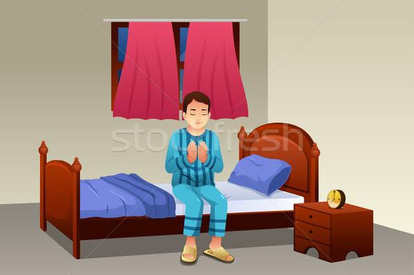 Muçulmano homem oração cama dormir oração Foto stock © artisticco