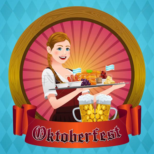 Oktoberfest affiche femme boire alcool dessin Photo stock © artisticco
