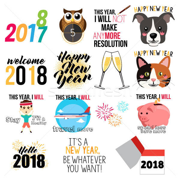 Happy New Year Signs and Icons Illustration Stock photo © artisticco